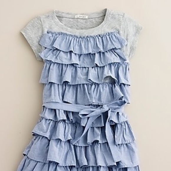 03098adedd5 NWT Crewcuts Blue White STRIPE RUFFLE DRESS